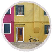 Standing By For A Quick Get Away In Burano Italy Round Beach Towel
