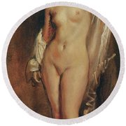 Standing Female Nude Round Beach Towel