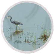 Standing In The Marshes Round Beach Towel