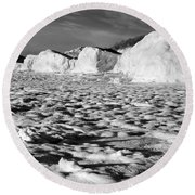 Standing On Lake Michigan Ice Round Beach Towel