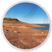 Standing On The Lakebed Round Beach Towel