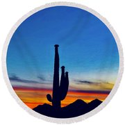 The Saguaro King Round Beach Towel