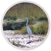 Standing There Round Beach Towel