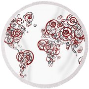 Stanford University Colors Swirl Map Of The World Atlas Round Beach Towel