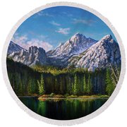 Stanley Lake Reflections Round Beach Towel