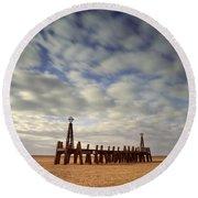 St.annes Beach, Lancashire, England Round Beach Towel