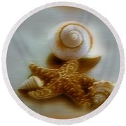 Star And Shells Round Beach Towel