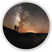 Star Crossed Lovers At Night Round Beach Towel
