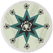 Star Flower - The Light Side Round Beach Towel