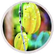 Star Fruit  Round Beach Towel