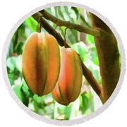 Star Fruit On The Tree Round Beach Towel