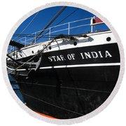 Star Of India Tall Ship San Diego Bay Round Beach Towel