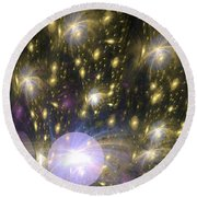 Star Particles Round Beach Towel