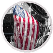 Star Spangled Splash  Round Beach Towel