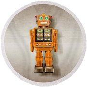 Star Strider Robot Orange Round Beach Towel