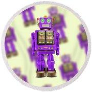 Star Strider Robot Purple Pattern Round Beach Towel