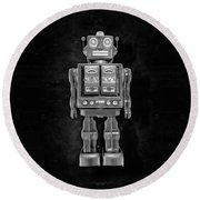 Star Strider Robot Red Bw Round Beach Towel