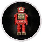 Star Strider Robot Red On Black Round Beach Towel
