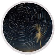 Star Trail In Hays, Ks Round Beach Towel