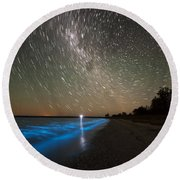 Star Trails And Bioluminescence Round Beach Towel by Philip Hart