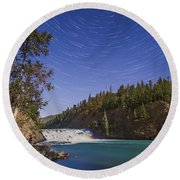 Star Trails And Moonbow Over Bow Falls Round Beach Towel