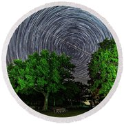 Star Trails At Sunken Meadow State Park Round Beach Towel