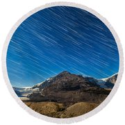 Star Trails Over Columbia Icefields Round Beach Towel