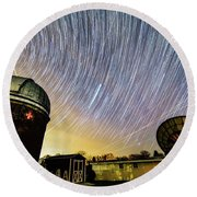 Star Trails Over Custer Observatory Round Beach Towel