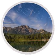 Star Trails Over Patricia Lake Round Beach Towel