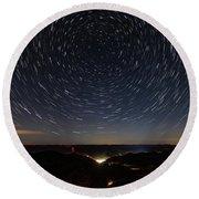 Star Trails Over Whitesburg Round Beach Towel