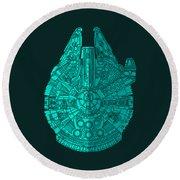 Star Wars Art - Millennium Falcon - Blue 02 Round Beach Towel