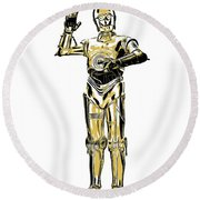 Star Wars C-3po Droid Tee Round Beach Towel