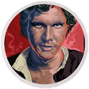 Star Wars Han Solo Pop Art Portrait Round Beach Towel