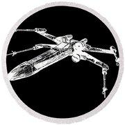 Star Wars T-65 X-wing Starfighter White Ink Tee Round Beach Towel
