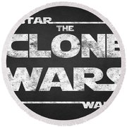 Star Wars The Clone Wars Chalkboard Typography Round Beach Towel