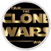 Star Wars The Clone Wars Typography Round Beach Towel