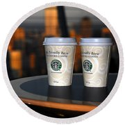 Starbucks At The Top Round Beach Towel
