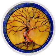 Stardust Tree Round Beach Towel