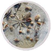 Starfish And Sea Shells Round Beach Towel