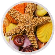 Starfish And Seashells  Round Beach Towel