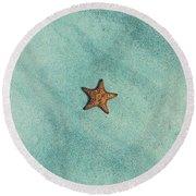 Starfish Aquamarine Round Beach Towel