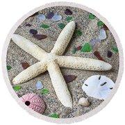 Starfish Beach Still Life Round Beach Towel