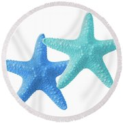 Starfish Blue And Turquoise On White Round Beach Towel