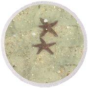 Starfish In Love Round Beach Towel