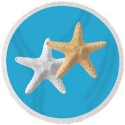 Starfish On Turquoise Round Beach Towel