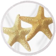 Starfish On White Round Beach Towel