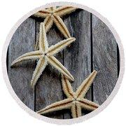 Starfishes In Wooden Round Beach Towel