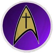 Starfleet Pastor  Round Beach Towel