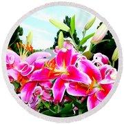 Stargazer Lilies #1 Round Beach Towel