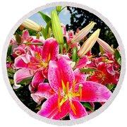 Stargazer Lilies #2 Round Beach Towel